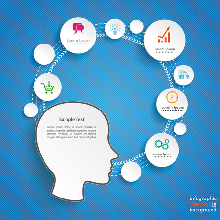 Infographic design with human head on the blue background. Eps 10 vector file.