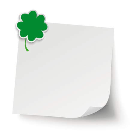 good luck: Cloverleaf with gray sticker on the gray background. Eps 10 vector file.