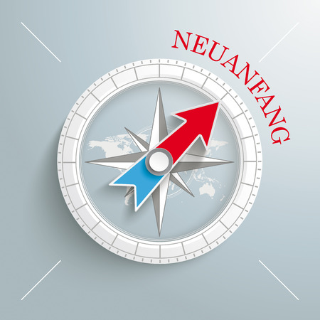 White compass with red german text Neuanfang, translate Cecommencement on the grey background. Eps 10 vector file. Vector