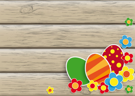 Flowers and easter eggs on the wooden background. Eps 10 vector file. Illustration