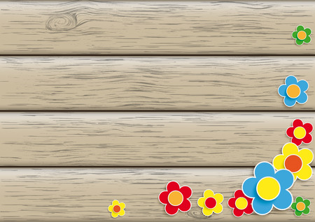 Flowers on the wooden background. Eps 10 vector file.