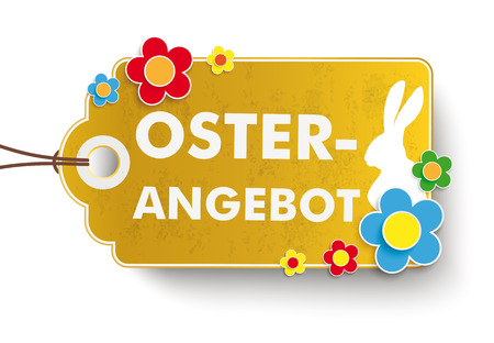 gold table cloth: Infographic with price sticker the whitebackground. German text Oster-Angebot, translate Easter Offer. Eps 10 vector file.