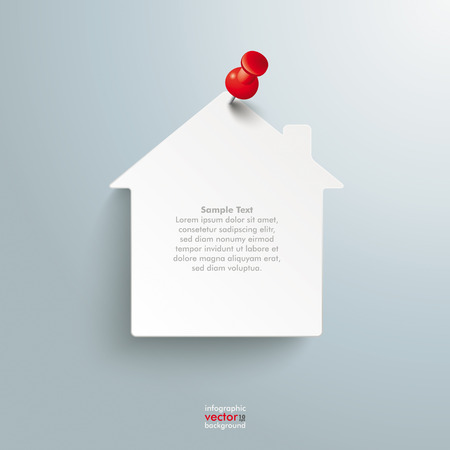 Infographic design white paper house and red thumbtack on the gray background. Eps 10 vector file. Иллюстрация