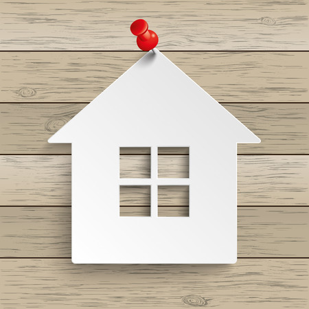 thumb tack: Paper house with tack on the wooden background. Eps 10 vector file.