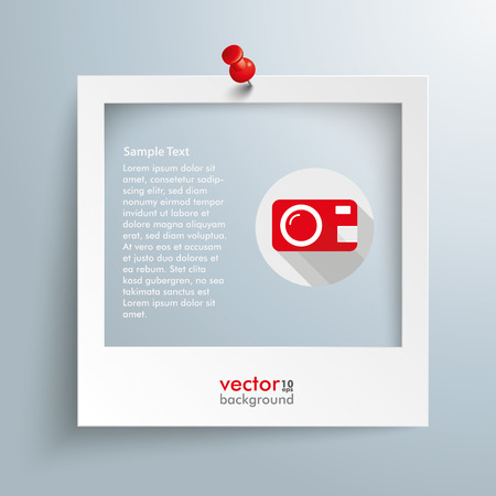 Photo frame with camera symbol and red thumbtack on the gray background. Eps 10 vector file.