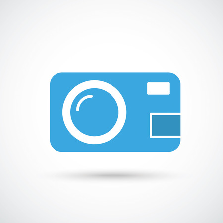 photocamera: Photocamera with shadow on the gray background.Eps 10 vector file. Illustration