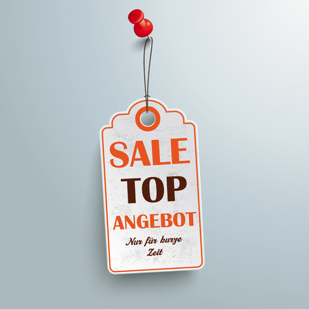 10 best: Price sticker with red thumbtackon the gray background.German text Top Angebot and Nur für kurze Zeit, translate Best Offer and limited time only.  Eps 10 vector file.