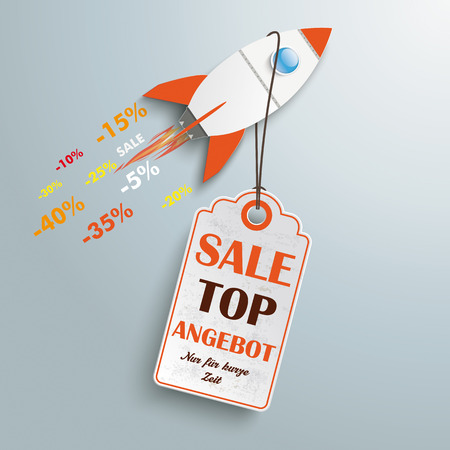 fast computer: Sale rocket with price sticker on the silver background.German text Top Angebot and Nur für kurze Zeit, translate Best Offer and limited time only.  Eps 10 vector file. Illustration