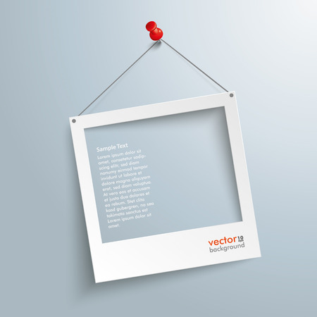 White photo frame on the gray background. Eps 10 vector file.