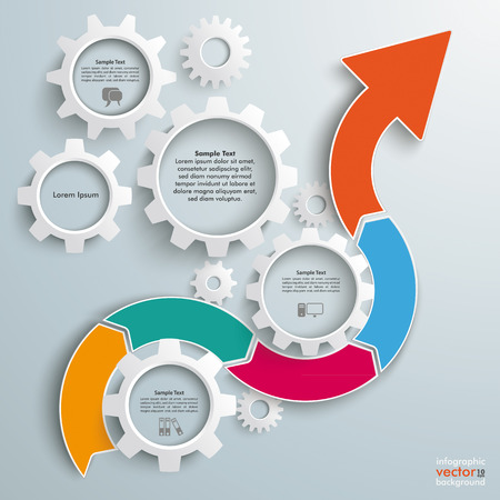 assembly line: Infographic with gears, wave arrow and rectangles on the gray background. Eps 10 vector file.