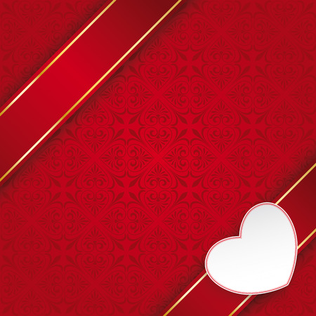 Ornaments with banner and heart on the red background. Eps 10 vector file. Vector