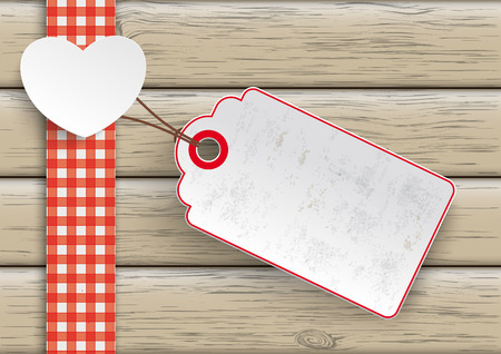 White paper heart with price sticker on the wooden background.  Eps 10 vector file. Illustration
