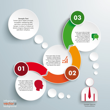 Infographic with circles and wave arrow  on the gray background. Eps 10 vector file. Vector