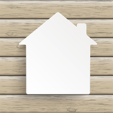 Realtor: Paper house symbol on the wooden background. Eps 10 vector file. Illustration