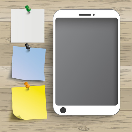 thumb tack: Smartphones with stickers on the wooden background. Eps 10 vector file. Illustration
