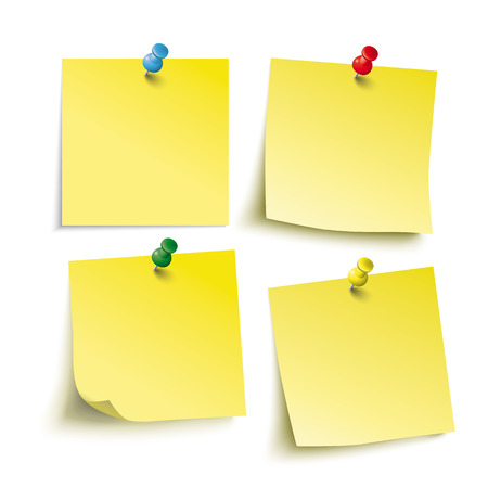 adhesive note: Infographic with yellow stickers on the white background. Eps 10 vector file. Illustration