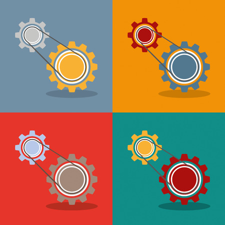 four wheel drive: 2 gears with drive chain, 4 variations, Eps 10 vector file. Illustration