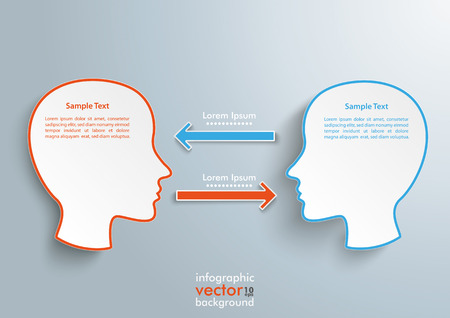 Infographic with 2 heads and 2 arrows on the gray background. Eps 10 vector file. Illustration