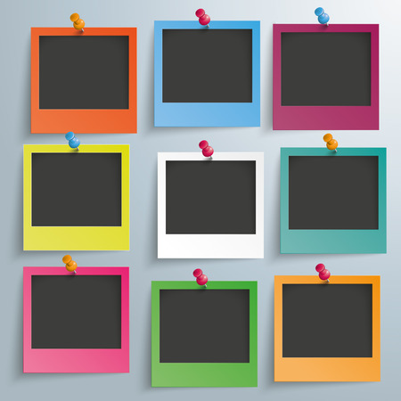 9 colored photo frames on the gray background. Eps 10 vector file.