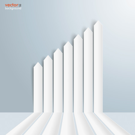 comb out: Infographic template with growing chart on the gray background. Eps 10 vector file.