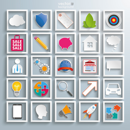 Set with business elements icons. Eps 10 vector file. Vector