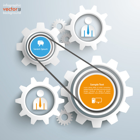 Gears with businessmen drive chain on the gray background. Eps 10 vector file.