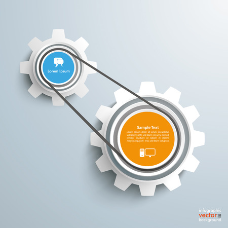 gear shape: 2 gears with drive chain on the gray background. Eps 10 vector file.