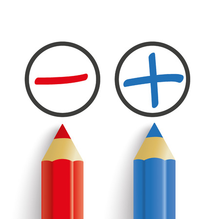 advantages: Pro and contra list with pens on the white. Eps 10 vector file.