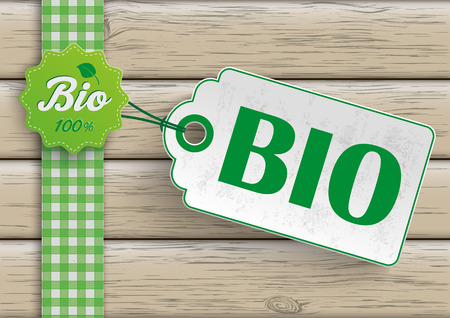 lath in modern: Bio food label with price sticker on the wooden background. Eps 10 vector file. Illustration