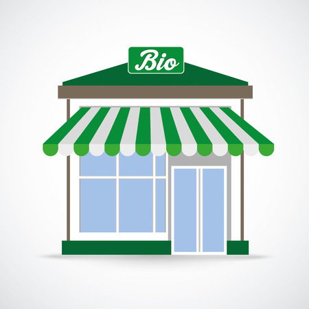 onlineshop: Bioshop building on the gray background.Eps 10 vector file. Illustration