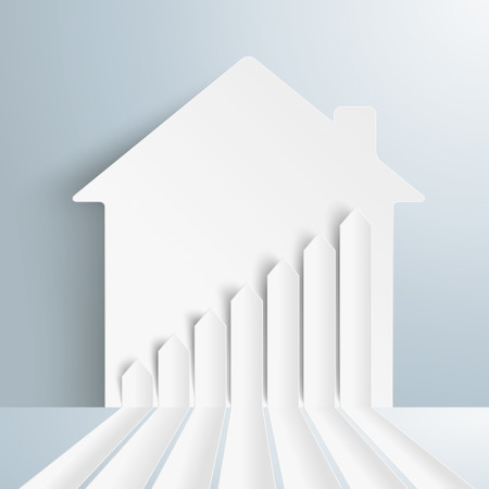 letting: Infographic template with broken arrows and house on the gray background. Eps 10 vector file. Illustration