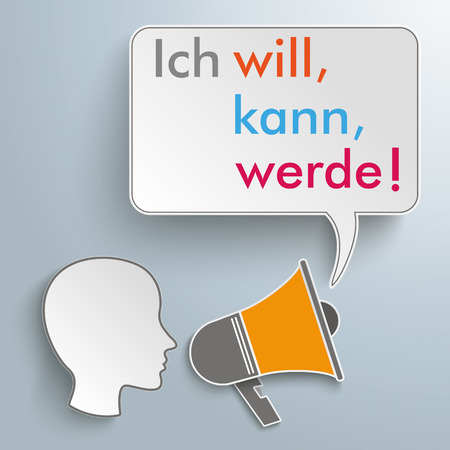 head i: Infographic with german text Ich will, kann, werde, translate I want, can,  will. Eps 10 vector file.