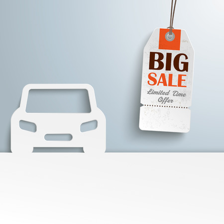 eps 10: White paper car with price sticker. Eps 10 vector file.