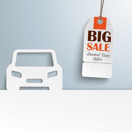 price sticker: White paper car with price sticker. Eps 10 vector file.