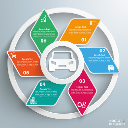 road ring: Infographic design with rhombus and car on the gray background. Eps 10 vector file.