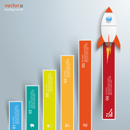 stockmarket chart: Infographic template with colored bars and rocket on the gray background. Eps 10 vector file. Illustration