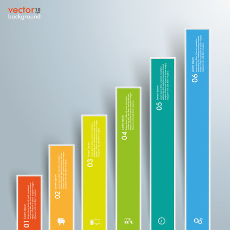 six objects: Infographic template with colored bars on the gray background. Eps 10 vector file.