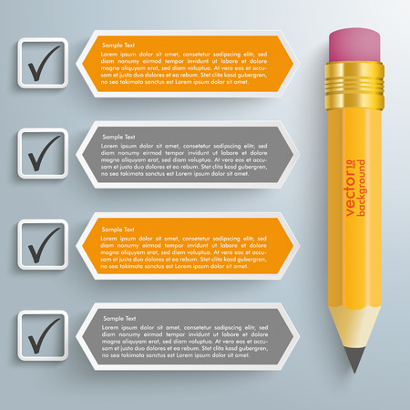 Checklist with pencil on the gray background. Eps 10 vector file.