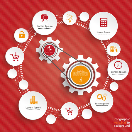 Infographic design with gears and circles on the red background. Eps 10 vector file.