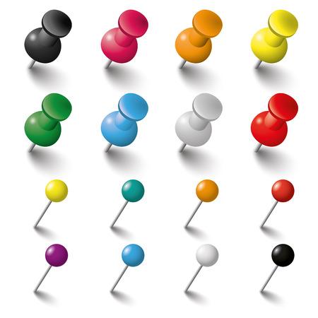 Colored pins un chiodini su sfondo bianco. Eps 10 file vettoriale.