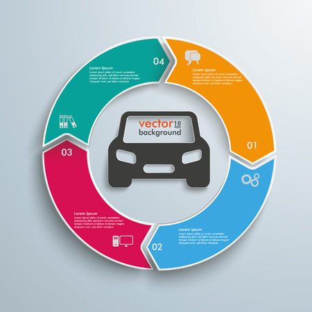 ring file: Colored cycle ring with car on the gray background. Eps 10 vector file.