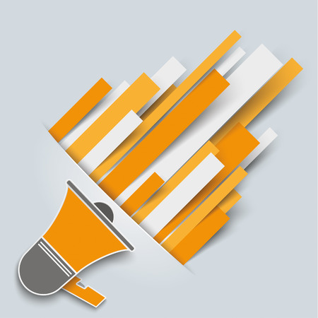 convert: Convert paper lines with bullhorn on the gray background. Eps 10 vector file. Illustration