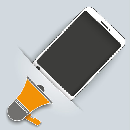 convert: Convert smartphone with bullhorn on the gray background. Eps 10 vector file. Illustration