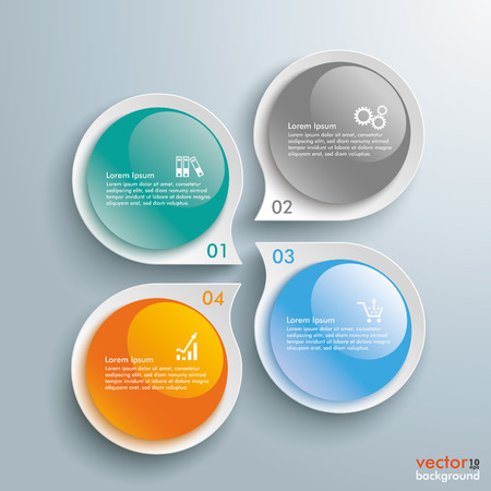 glas 3d: Infographic with drop shapes on the gray background. Eps 10 vector file. Illustration