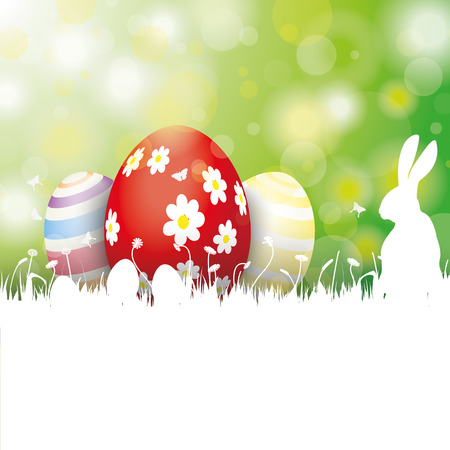 eps: Easter card with eggs and rabbit on the grenn background. Eps 10 vector file.