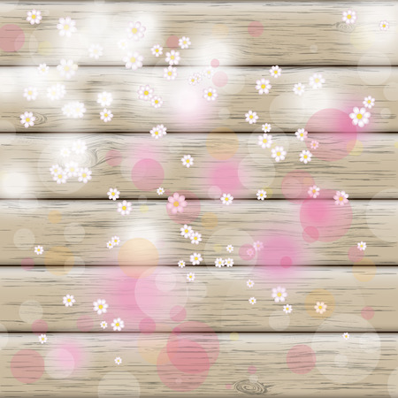 eps 10: White flowers on the wooden background. Eps 10 vector file. Illustration