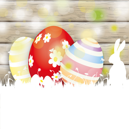 eps 10: Easter greeting card with rabbit, eggs and lights on the wooden background. Eps 10 vector file. Illustration