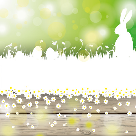 eps 10: White flowers with lights on the green and wooden background. Eps 10 vector file. Illustration