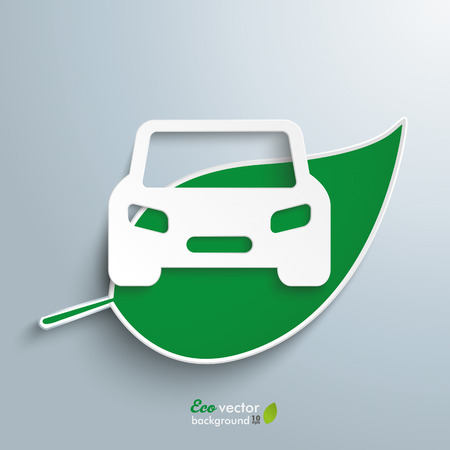 eco car: Green leave with car on the gray background. Eps 10 vector file.