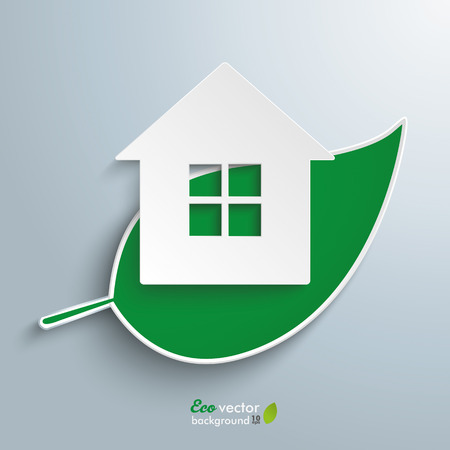 Green leave with house on the gray background. Eps 10 vector file.